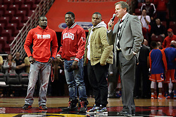 21 November 2015: Three members of the Redbird football team - Tre Roberson, James Graham and Marshaun Coprice stand with Director of Athletics Larry Lyons to discuss post season play with the crowd. Illinois State Redbirds host the Houston Baptist Huskies at Redbird Arena in Normal Illinois (Photo by Alan Look)