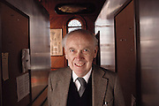 James Dewey Watson (born 1928), American biochemist and co- discoverer of the structure of DNA. Watson graduated from Chicago University & obtained a PhD in 1950. He abandoned plans to become an ornithologist to work on problems in biochemistry & genetics. In 1951 he went to Cambridge, to work with Francis Crick on solving the problem of the structure of DNA. In 1953 they proposed a double helix structure for DNA, which earned them (with Maurice Wilkins) the 1962 Nobel Prize in Medicine. Cold Spring Harbor Laboratory, New York, where Watson was director at the time of this photograph. MODEL RELEASED 1989..Human Genome Project..ADVERTISING/COMMERCIAL USE REQUIRES CLEARANCE.