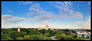 Spectacular panoramic photograph of Washington, DC.  Includes U.S. Capitol.  Print Size (in inches): 15x6.5; 24x11; 36x16; 48x21.5; 60x27; 72x32.5.