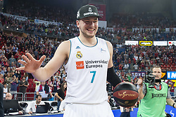 June 19, 2018 - Vitoria, Spain - Real Madrid Luka Doncic celebrating the championship during Liga Endesa Finals match (4th game) between Kirolbet Baskonia and Real Madrid at Fernando Buesa Arena in Vitoria, Spain. June 19, 2018. (Credit Image: © Coolmedia/NurPhoto via ZUMA Press)