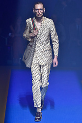 Model Tobias Lundh walks on the runway during the Gucci Fashion Show during Milan Fashion Week Spring Summer 2018 held in Milan, Italy on September 20, 2017. (Photo by Jonas Gustavsson/Sipa USA)