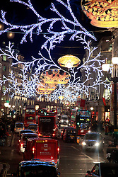 21 December 2012. London, Great Britain. <br /> Christmas lights on Regent Street in central London. <br /> Photo; Charlie Varley