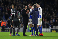 Football - 2018 / 2019 Premier League - Brighton and Hove Albion vs. Everton<br /> <br /> Everton Manager Marco Silva talks to Glenn Murray of Brighton after the final whistle to try and calm things down at The Amex Stadium Brighton <br /> <br /> COLORSPORT/SHAUN BOGGUST