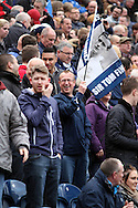 Preston fans wave a Sir Tom Finney flag. Skybet football league one play off semi final, 1st leg match, Preston North End v Rotherham United at the Deepdale Stadium in Preston, England on Saturday 10th May 2014.<br /> pic by Chris Stading, Andrew Orchard sports photography.