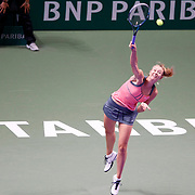 Russia's Maria Sharapova hits a return to Serena Williams of the U.S. during their final WTA tennis championships match in Istanbul, October 28, 2012. Photo by Aykut AKICI/TURKPIX