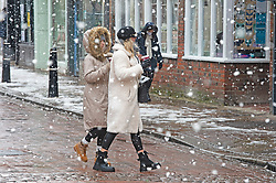 © Licensed to London News Pictures 10/02/2021.        Rochester, UK. Heavy snowfall in Rochester High Street, Kent. Temperatures are set to drop to a freezing cold -7C in Kent and the South East tonight with more snowfall expected. Photo credit:Grant Falvey/LNP