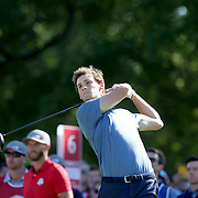 Ryder Cup 2016. Day One. Thomas Pieters of Europe tees off on the sixth in the Friday afternoon four-ball competition during the Ryder Cup at  Hazeltine National Golf Club on September 30, 2016 in Chaska, Minnesota.  (Photo by Tim Clayton/Corbis via Getty Images)