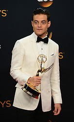 September 18, 2016 - Los Angeles, California, United States - Rami Malek won the Emmy award for Outstanding Lead Actor in a Drama Series, poses backstage at the 68th Annual Emmy Awards at the Microsoft Theater in Los Angeles, California on Sunday, September 18, 2016. (Credit Image: © Michael Owen Baker/Los Angeles Daily News via ZUMA Wire)