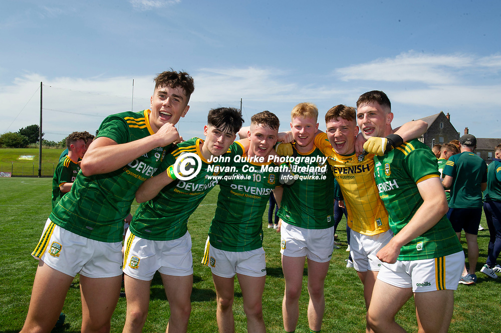 24-07-21. Meath v Louth - Leinster MFC Semi-Final at Pairc Tailteann, Navan.<br /> Meath players celebrating from left, Jack Kinlough, Brian O'Halloran, Andrew Moore, Tomas Corbett, Oisin McDermott and Liam Kelly.<br /> Photo: John Quirke / www.quirke.ie<br /> ©John Quirke Photography, 16 Proudstown Road, Navan. Co. Meath. (info@quirke.ie / 046-9028461 / 087-2579454).
