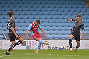 Andy Dales (17) of Scunthorpe United shoots at goal during the Pre-Season Friendly match between Scunthorpe United and Doncaster Rovers at Glanford Park, Scunthorpe, England on 15 August 2020.