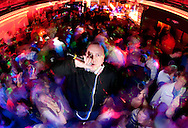 """Kyle """"Fattie B"""" Thompson poses for a portrait during a dance party called """"Retronome"""" at Club Metronome in Burlington, Vermont."""
