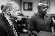 21 OCTOBER 2013 - PHOENIX, AZ: Rev. JARRETT MAUPIN, right, a Phoenix civil rights activist, and Arizona Attorney General TOM HORNE at a meeting with DREAM Act protesters. The DREAMers are protesting the decision by Attorney General Horne to sue the Maricopa County Community College District to force the district to charge in-state tuition to the young people who qualify for the federal government deferred-action program.   PHOTO BY JACK KURTZ