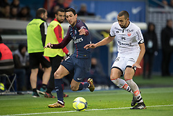 Angel Di Maria of Paris Saint-Germain in action with Fouad Chafik of Dijon FCO  during the Ligue 1 match between  Paris Saint Germain and Dijon FCO at the Parc des Princes in Paris, FRANCE on January 17, 2017.Paris Saint Germain won Dijon FCO with 8-0 (Credit Image: © Jack Chan/Chine Nouvelle/Xinhua via ZUMA Wire)