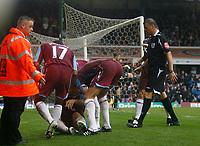 Photo: Steve Bond.<br />Birmingham City v West Ham United. The FA Barclays Premiership. 18/08/2007. mark Noble (seated) celebrates