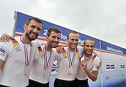 Banyoles, SPAIN, GER LM4-, Silver Medallist .  FISA World Cup Rd 1. Lake Banyoles.  Sunday,  31/05/2009   [Mandatory Credit. Peter Spurrier/Intersport Images]