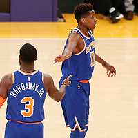 21 January 2018: New York Knicks guard Frank Ntilikina (11) is seen with New York Knicks forward Tim Hardaway Jr. (3) during the LA Lakers 127-107 victory over the New York Knicks, at the Staples Center, Los Angeles, California, USA.