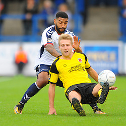 TELFORD COPYRIGHT MIKE SHERIDAN 13/10/2018 - Ellis Deeney of AFC Telford and Marcus Carver during the Vanarama National League North fixture between AFC Telford United and Chorley