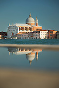 Looking across Canale della Diudecca at II Redentore on Giudecca. A 16th-century Roman Catholic church. Venice, Italy, Europe