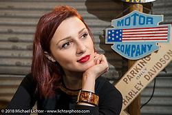 Sara Jukic of LowRide Magazine at the Motor Bike Expo. Verona, Italy. January 24, 2016.  Photography ©2016 Michael Lichter.