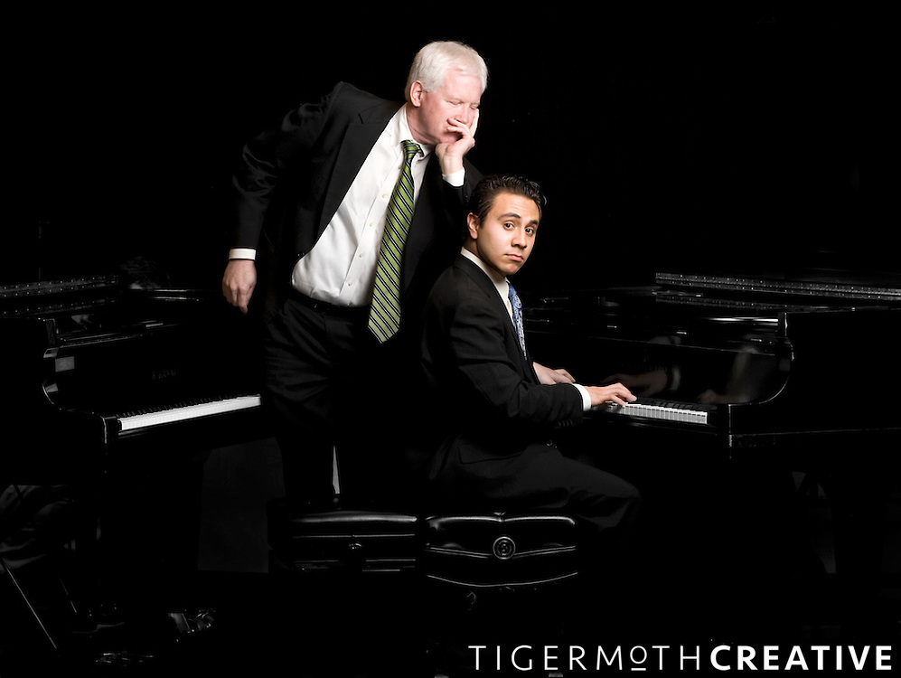 Professor of Music John Salmon, left, and music student Antonio Truyols.