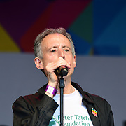 London, England, UK. 7th July 2018. Peter Tatchell make a speaks at the Pride parade in Trafalgar Square, London, UK on 7th July 2018.