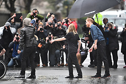 © Licensed to London News Pictures. 28/02/2020. London, UK. Prince Harry, Duke of Sussex is seen leaving Abbey Road studios in London after meeting Jon Bon Jovi and members of the Invictus Games Choir, who are recording a special single in aid of the Invictus Games. Photo credit: Ben Cawthra/LNP