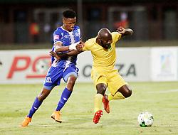 13052018 (Durban) Maritzburg player Pogiso Sanoka tackle with Sandile Zuke during Maritzburg United drew 1-1 with Lamontville Golden Arrows in an Absa Premiership match at the Harry Gwala Stadium in Pietermaritzburg on Saturday afternoon.<br /> Picture: Motshwari Mofokeng/African News Agency/ANA