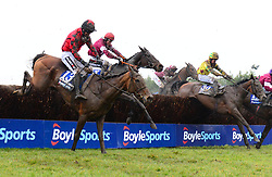 General Principle ridden by JJ Slevin (second left) before going on to win the BoyleSports Irish Grand National Chase during BoyleSports Irish Grand National Day of the 2018 Easter Festival at Fairyhouse Racecourse, Ratoath, Co. Meath.