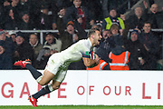 Twickenham, Surrey. UK.  A joyful, Danny CARE, prepare to launch, himself, to the try line as he dives in for a late try, at  the  England VS Australia, Autumn International. Old Mutual Wealth Series. RFU Stadium, Twickenham. UK<br /> <br /> Saturday  18.11.17<br /> <br /> [Mandatory Credit Peter SPURRIER/Intersport Images]