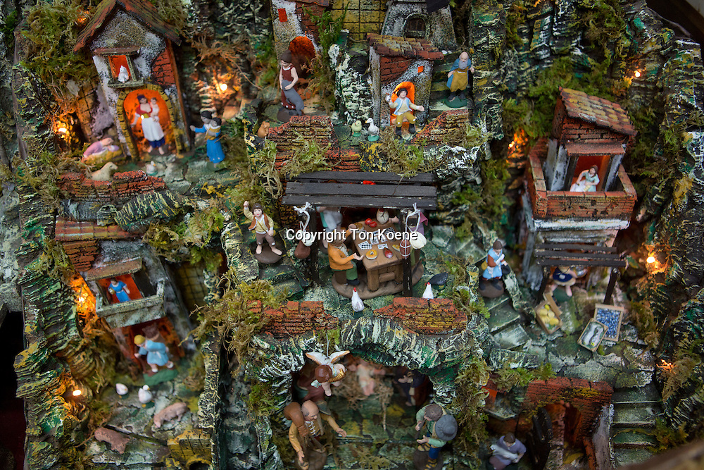 Christmas stables sold as souvenirs in presepi street in naples
