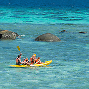 Family with two kids on Kayak in Andaman sea, Ko Lipe, Thailand