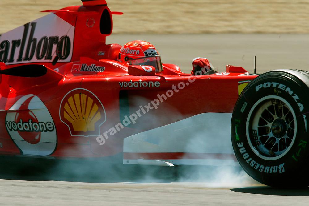 Michael Schumacher (Ferrari) braking hard in practice for the 2005 European Grand Prix at the Nurburgring. Photo: Grand Prix Photo