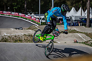 #566 (OQUENDO ZABALA Carlos Mario) COL during practice at Round 5 of the 2018 UCI BMX Superscross World Cup in Zolder, Belgium