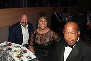 November 3, 2012- New York, NY: (L-R) Media Personality Tom Joyner, Linda Johnson Rice, Chairperson, Johnson Publishing Company and U.S.Congressman John Lewis at the EBONY Power 100 Gala Presented by Nationwide held at Jazz at Lincoln Center on November 3, 2012 in New York City. The EBONY Power 100 Gala Presented by Nationwide salutes the country's most influential African Americans.(Terrence Jennings) .