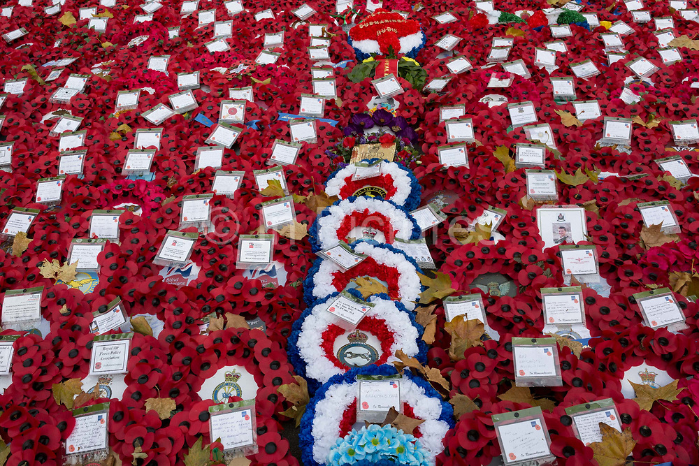 Wartime wreaths lie at the Cenotaph in Londons Whitehall after Remembrance Sunday, on 12th November 2019, in London, England.