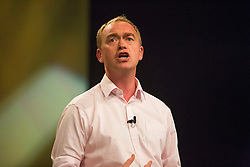 """© Licensed to London News Pictures. 17/09/2016. Brighton, UK. TIM FARRON MP and leader of the Liberal Democrats Party joins guest speakers for a rally on """"a vision for Britain"""" during the Liberal Democrats Autumn Conference. Photo credit: Hugo Michiels/LNP"""