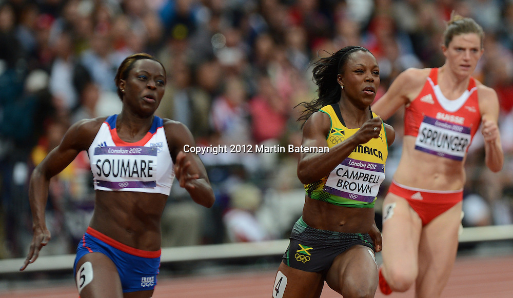 Veronica Campbell-Brown competes in the women's 200m on August 6th 2012