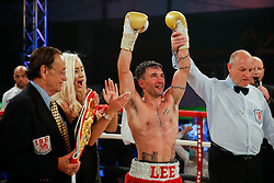 Lee Haskins celebrates after he beats Ryosuke Iwasa by 6th round stoppage to win the Interim IBF World Bantamweight Title in his home City of Bristol - Photo mandatory by-line: Rogan Thomson/JMP - 07966 386802 - 13/06/2015 - SPORT - BOXING - Bristol, England - Action Indoor Sports Arena - Lee Haskins vs Ryosuke Iwasa - Interim IBF World Bantamweight Title Fight.