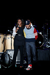 Chance the Rapper was on hand to perform at the Barack Obama Foundation Summit in Chicago. 01 Nov 2017 Pictured: Michelle Obama, Chance the Rapper. Photo credit: MEGA TheMegaAgency.com +1 888 505 6342