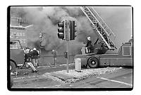 Fire service in Oxford Street, London, 1982. South-East London, 1982