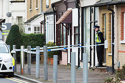 © Licensed to London News Pictures. 13/02/2014. Essex, UK. Police officers guard the scene of a stabbing which caused life-threatening injuries to a 26 year old woman. The incident occurred at Park Street, Southend. A 42 year old male was later arrested in a vehicle on Eastern Esplanade, Southend on suspicion of attempted murder. The woman was flown by air ambulkance to a London hospital. The arrested male was taken to Southend Hospital with with suspected stab wounds. Enquiries continue. Photo credit : Simon Ford/LNP