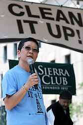 08 May 2010. New Orleans, Louisiana, USA. <br /> Allison Chin, President of the Sierra Club addresses a rally to demonstrate against British Petroleum's massive devastating oil leak in the Gulf of Mexico.<br /> Photo; Charlie Varley/varleypix.com