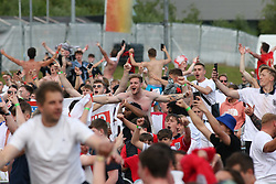 © Licensed to London News Pictures. 29/06/2021. Manchester, UK. Fans at Event City in Manchester celebrate as England beat Germany at Euro 2020. Photo credit: Adam Vaughan/LNP