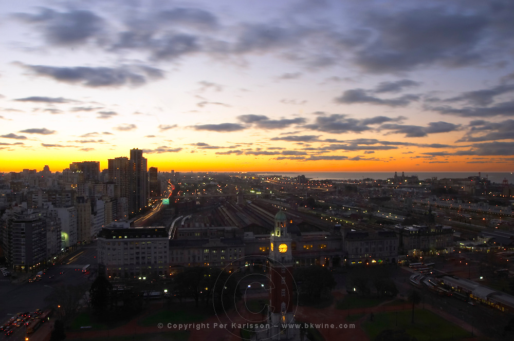 A bird's eye view over the city at sunset. Buenos Aires Argentina, South America