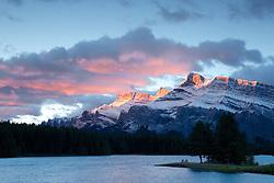 Sunrise at Two Jack Lake, Mt. Rundle, Banff National Park