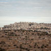 The East Jerusalem Israeli settlement of Har Homa sits adjacent the Palestinian town of Beit Sahour, West Bank.