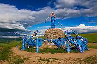Mongolie, Province de Bulgan, Ovo, monument bouddhiste // Mongolia, Bulgan province, Ovo, buddhist monument