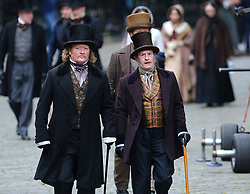 "Moray Place in Edinburgh's Georgian old town was turned into 19th century London for Julian Fellowes' new ITV show ""Belgravia"".<br /> <br /> Pictured: Extras have a break between takes<br /> <br /> Alex Todd 