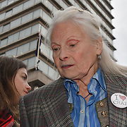 Speaker Vivienne Westwood at Carn-evil of Chaos with Samba drums demonstration  for climate change at embassy of Brazil, London, UK. 1st May 2019.