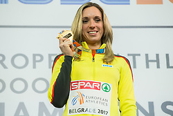 Cindy Roleder of Germany celebrates during victory ceremony after she won at 60 m Hurdles Women Final on day two of the 2017 European Athletics Indoor Championships at the Kombank Arena on March 4, 2017 in Belgrade, Serbia. Photo by Vid Ponikvar / Sportida